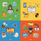 Sistema plano del icono de la seguridad de Internet Imagen de archivo libre de regalías