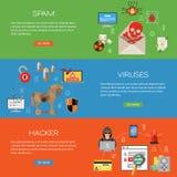 Sistema plano del icono de la seguridad de Internet Fotos de archivo