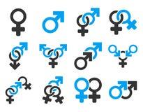 Sistema plano del icono de la trama de los símbolos de la relación sexual ilustración del vector