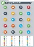 Sistema plano del icono de las compras ilustración del vector