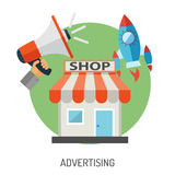 Sistema plano del icono de las compras y del márketing de Internet Fotos de archivo