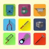 Sistema plano del icono de las herramientas del joyero Imágenes de archivo libres de regalías