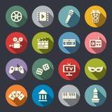 Sistema plano del icono de las multimedias Fotografía de archivo libre de regalías