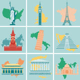 Sistema plano del icono de las señales del mundo Viaje y turismo Vector Foto de archivo libre de regalías