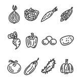 Sistema plano del icono de las verduras Fotografía de archivo
