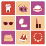 Sistema plano del icono de los accesorios de la mujer Fotografía de archivo libre de regalías