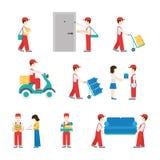 Sistema plano del icono de los repartidores del servicio de entrega libre illustration