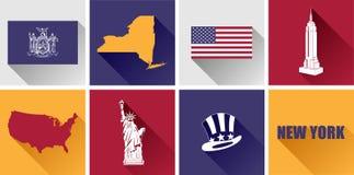 Sistema plano del icono de Nueva York Foto de archivo libre de regalías
