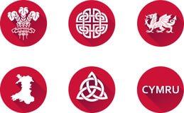 Sistema plano del icono de País de Gales Fotos de archivo
