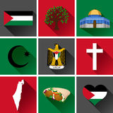 Sistema plano del icono de Palestina Imagen de archivo libre de regalías