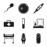 Sistema plano del icono de Pregnantcy aislado en el fondo blanco Foto de archivo libre de regalías