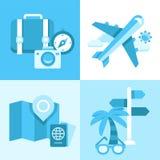 Sistema plano del icono de símbolos del viaje Imagen de archivo