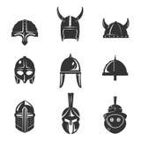Sistema plano del icono del casco del guerrero Fotos de archivo