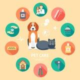 Sistema plano del icono del cuidado de animales de compañía Bandera del cuidado de animales de compañía, fondo, cartel, concepto  Fotos de archivo