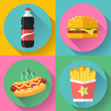 Sistema plano del icono del diseño de los alimentos de preparación rápida hamburguesa, cola, perrito caliente y patatas fritas Foto de archivo