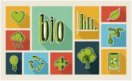 Sistema plano del icono del estilo del bosquejo de la ecología Imagen de archivo