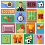 Sistema plano del icono del fútbol Fotos de archivo