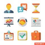 Sistema plano del icono del negocio Imagen de archivo libre de regalías