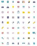Sistema plano del icono del negocio y de la oficina Imágenes de archivo libres de regalías