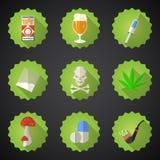 Sistema plano del icono del vector de los malos hábitos Incluya la cerveza, alcohol, píldoras, i Fotografía de archivo libre de regalías