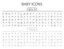 Sistema plano del icono del vector del bebé ilustración del vector