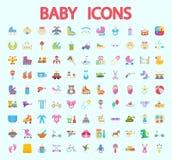Sistema plano del icono del vector del bebé Fotografía de archivo libre de regalías