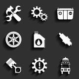 Sistema plano del icono del vector del mantenimiento del servicio del coche. Imágenes de archivo libres de regalías