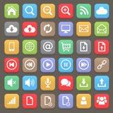 Sistema plano del icono del web y de Internet Elemento del vector Fotos de archivo