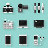 Sistema plano del icono dispositivo Estilo blanco Fotografía de archivo