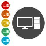 Sistema plano del icono del equipo de escritorio libre illustration