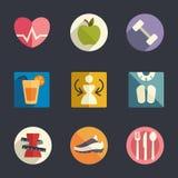 Sistema plano del icono. Tema de la dieta y de la aptitud Imágenes de archivo libres de regalías