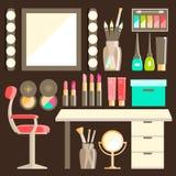 Sistema plano del lugar de trabajo del trabajador s del maquillaje del vector Espejo, co decorativo Foto de archivo