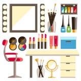 Sistema plano del lugar de trabajo del trabajador s del maquillaje del vector Espejo, co decorativo Fotografía de archivo libre de regalías