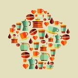 Sistema plano del sombrero del cocinero de los iconos del café Imágenes de archivo libres de regalías