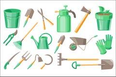 Sistema plano del vector de accesorios del jardín Pote con la planta, los guantes protectores, la excavación y las herramientas d stock de ilustración