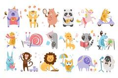 Sistema plano del vector de animales divertidos de la historieta en diversas acciones Jugar a juegos, té de consumición, comiendo libre illustration