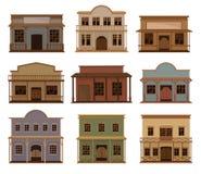Sistema plano del vector de casas occidentales Salones del oeste salvajes viejos Edificios de madera con las puertas y los pórtic stock de ilustración