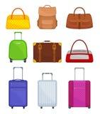 Sistema plano del vector de diversos bolsos Maletas del viaje en las ruedas, mujeres bolso, mochila, petate Equipaje del viajero libre illustration