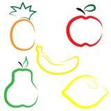 Sistema plano del vector de frutas ilustración del vector