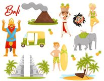 Sistema plano del vector de iconos relacionados con el tema de Bali Volcán, monumento histórico, transporte, criatura mítica stock de ilustración