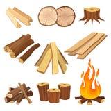 Sistema plano del vector de leña Registros y llama, tocones de árbol, tablones de madera Material orgánico, textura natural Mader ilustración del vector