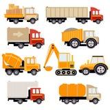 Sistema plano del vector de los camiones del trabajo Fotografía de archivo libre de regalías