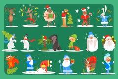 Sistema plano del vector de los caracteres divertidos ciervos, mono, oveja, perro, conejito, muñecos de nieve, gorila, duende, P