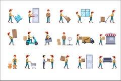 Sistema plano del vector de los ejemplos para el concepto de la entrega Cargadores con los paquetes, cajas de cartón del hombre q Fotografía de archivo libre de regalías