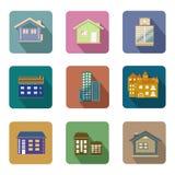 Sistema plano del vector de los iconos de los edificios del estilo Fotos de archivo