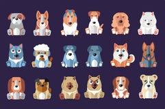 Sistema plano del vector de los perros lindos de diversas razas Animales domésticos Diseñe para el libro de niños, juego móvil, i Fotografía de archivo