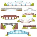 Sistema plano del vector de los puentes del ladrillo, del hierro, de madera y de piedra Elementos del paisaje Arquitectura y tema libre illustration