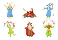 Sistema plano del vector de magos en diversas acciones Viejos magos gris-barbudos Personajes de dibujos animados con poderes mági ilustración del vector