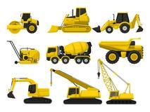 Sistema plano del vector de material de construcción Máquinas especiales para construir Rodillo de camino, niveladora, camión de  ilustración del vector