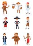 Sistema plano del vector de muchachos en trajes nacionales de los países diferentes Niños sonrientes en diversa ropa tradicional stock de ilustración